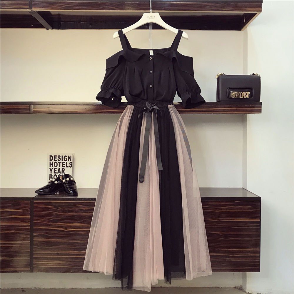 One Piece Suit Plus Size Women 2020 New Spring And Summer Dress Is Thin And Fat Sister Dress Two Piece Suit Shopee Indonesia
