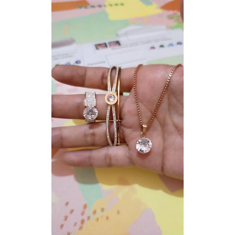 set gelang kalung dan cincin titanium wanita gelang ...
