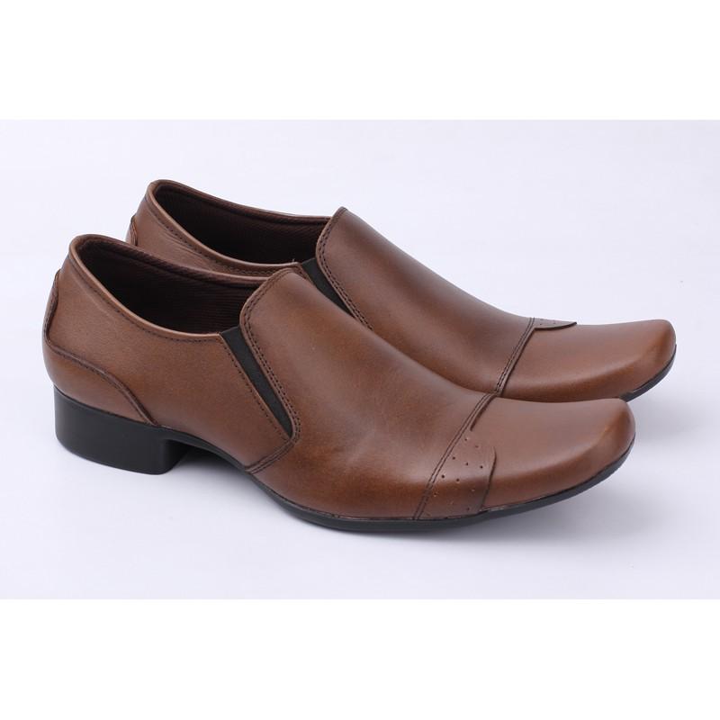Sepatu Kulit Kerja Coklat Tanpa Tali BEST SELLER Pantofel Pria Murah Handmade Bandung Berkualitas | Shopee Indonesia