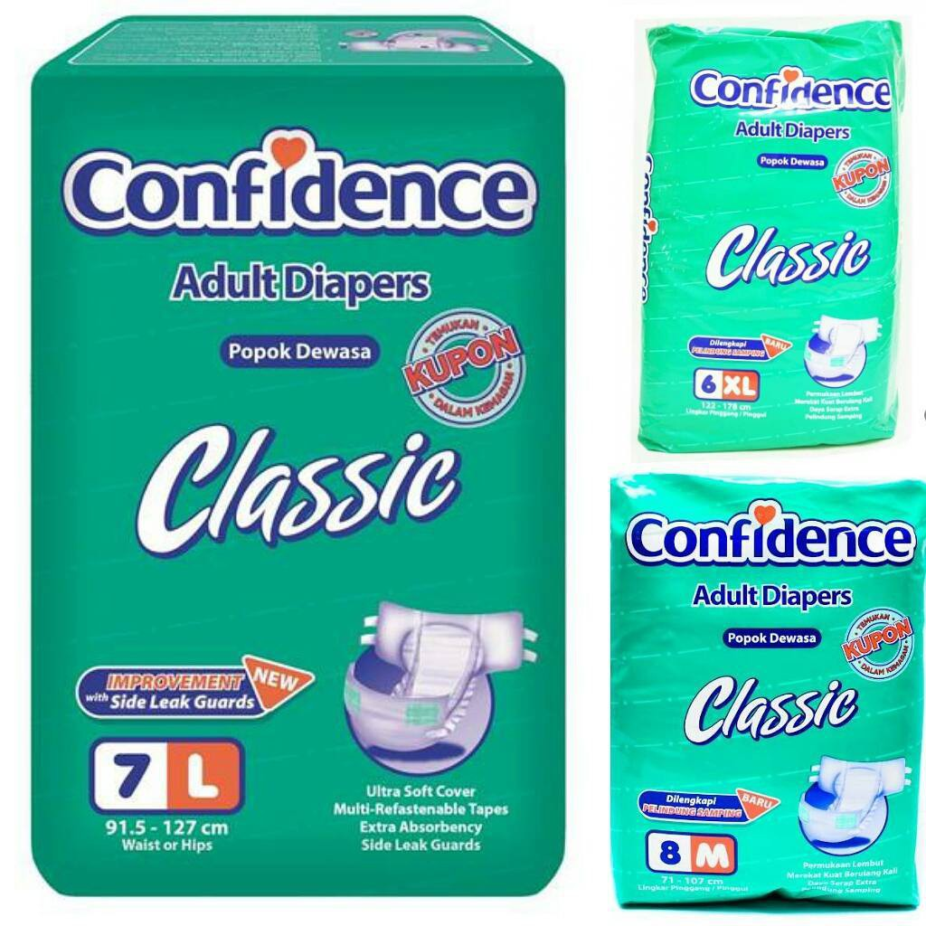 Diaper Dewasa Confidence Ukuran M L Dan Xl Shopee Indonesia We Care Popok Pampers 8 Perekat Diapers