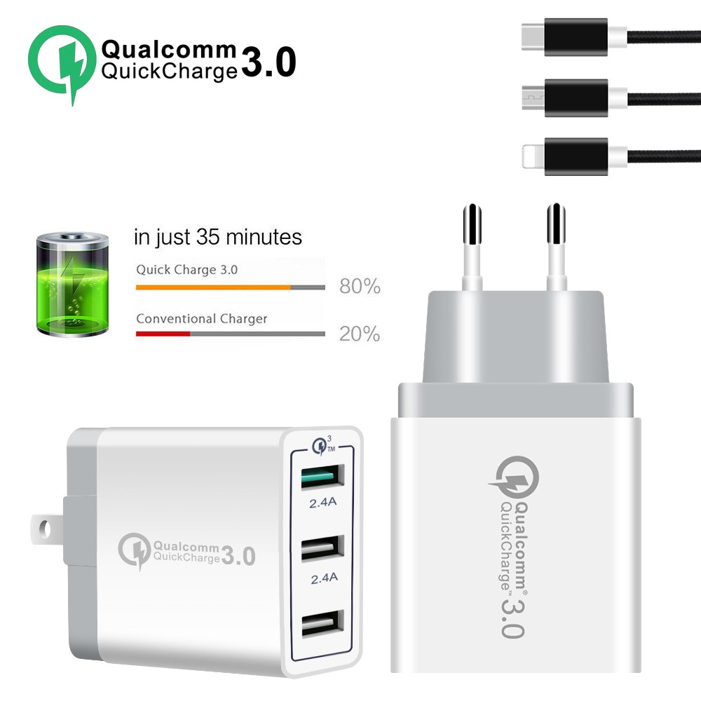 30w Adapter 3 Port Fast Quick Charge Eu Us Uk Plug Qc 3 0 Usb Wall Charger Shopee Indonesia