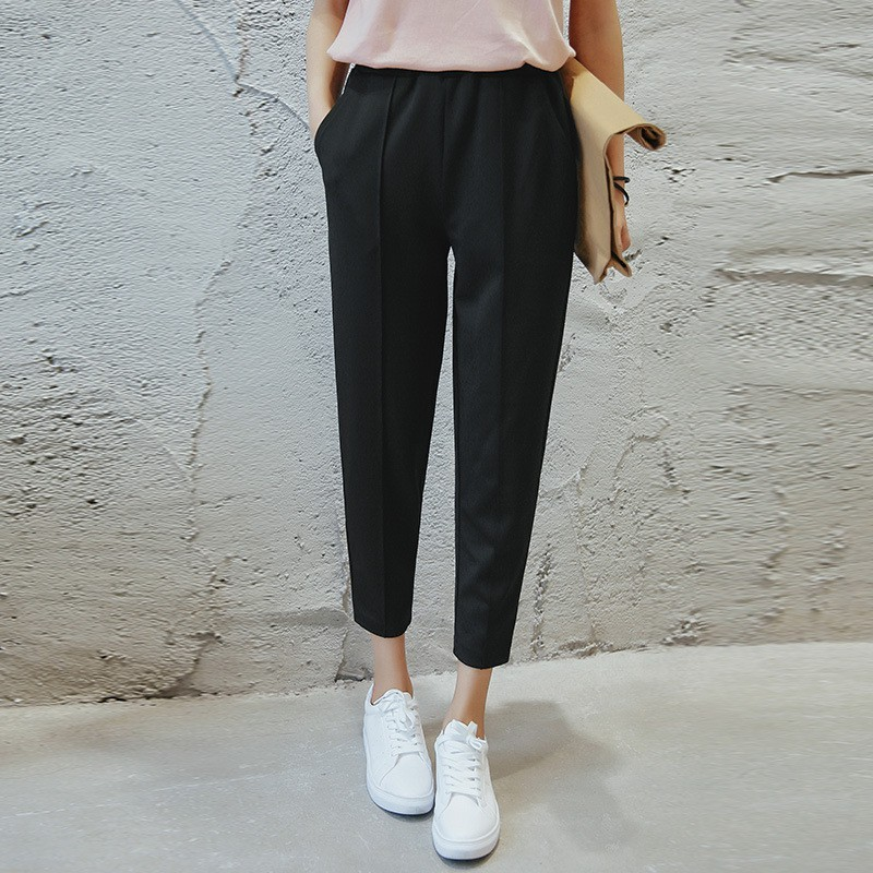 Versi Korea dari lubang jins lurus BF angin sembilan celana wanita   Shopee Indonesia