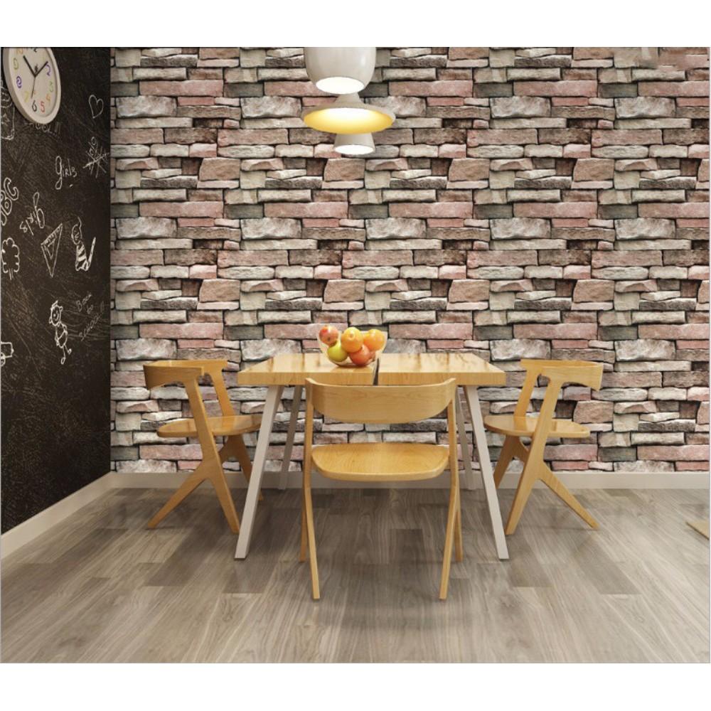 Wallpaper Dengan Gambar Motif Batu Bata 3D Warna Warni Untuk Dekorasi Rumah Restoran