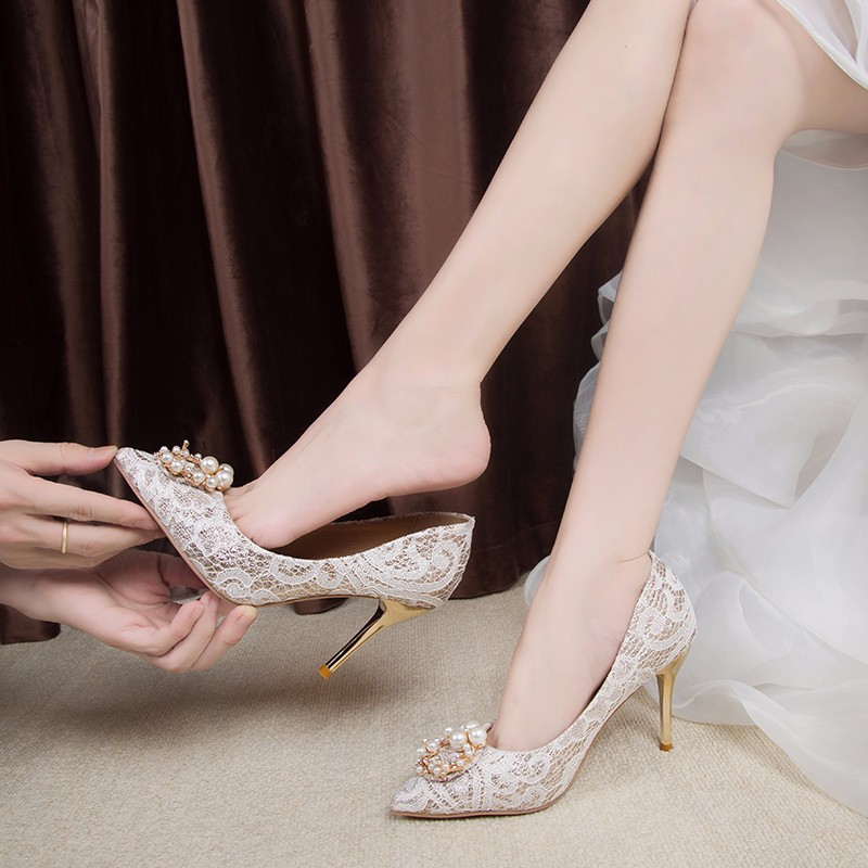 Sepatu Wanita 2020 Sepatu Pernikahan Gaya Baru High Heels Dengan