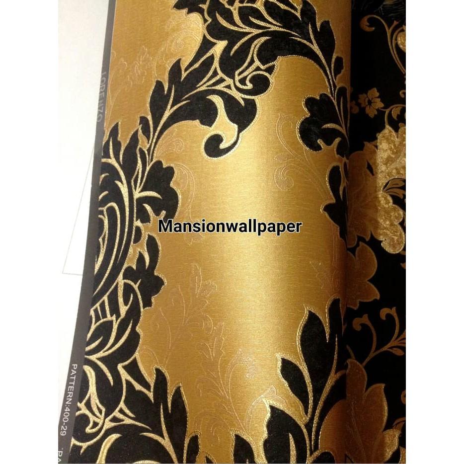 PERCANTIK RUANGAN DEKORASI Wallpaper Dinding Klasik Gold Daun Mewah