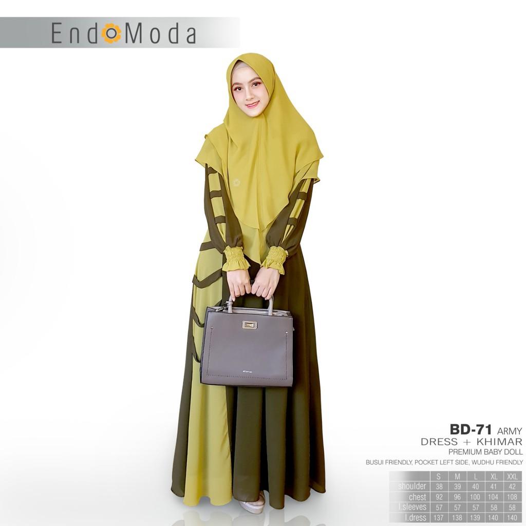 Gamis Endomoda Terbaru Bd 71 Blue Bd 71 Army Shopee Indonesia