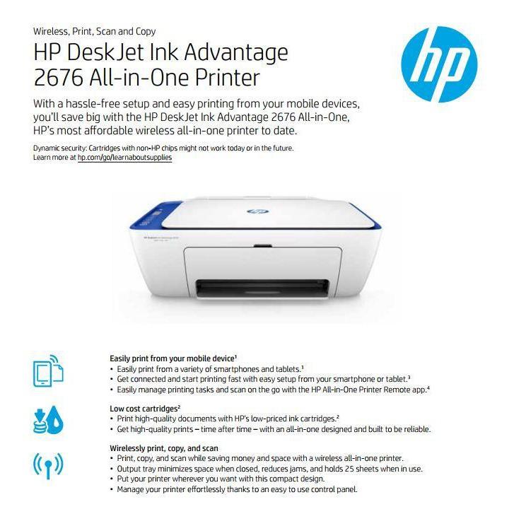 HP DeskJet 2676 Ink Advantage Printer All In One Wireless ORIGINAL | Shopee Indonesia