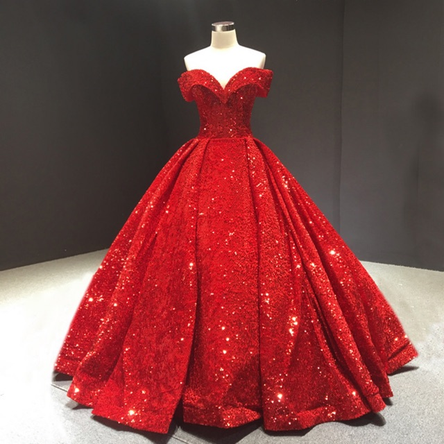 Red Elegant Bling Sequin Off Shoulder Maxi Wedding Party Big Ball Gown Dress Shopee Indonesia