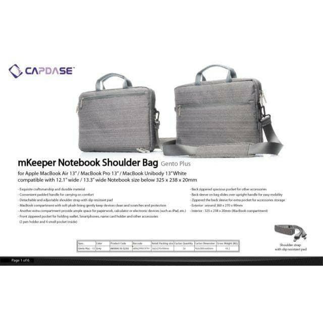 Capdase Tas Slempang Gento Plus 13 inch for Notebook / Apple Macbook .. | Shopee