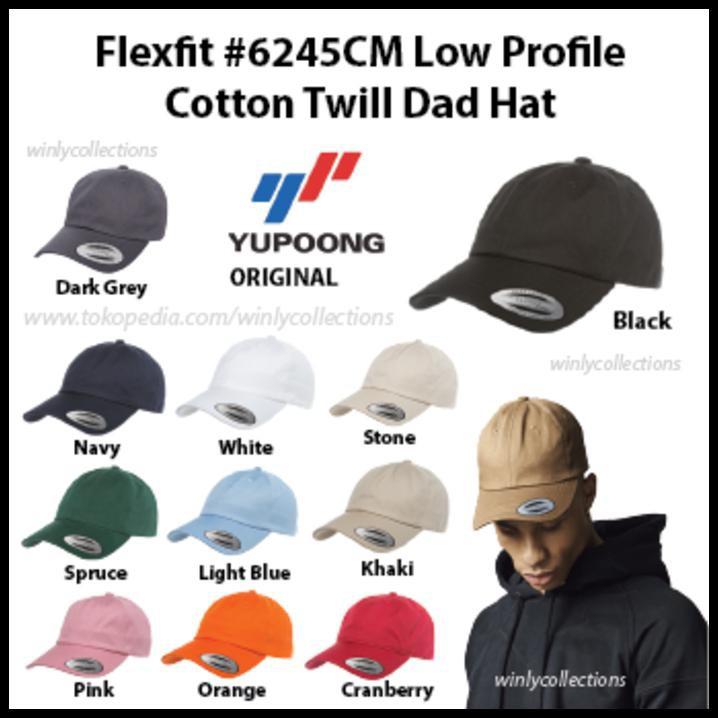 New Product Topi Flexfit Low Profile Cotton Twill Dad Hat 6245Cm Ori Free  Ongkir  0c60b661ad