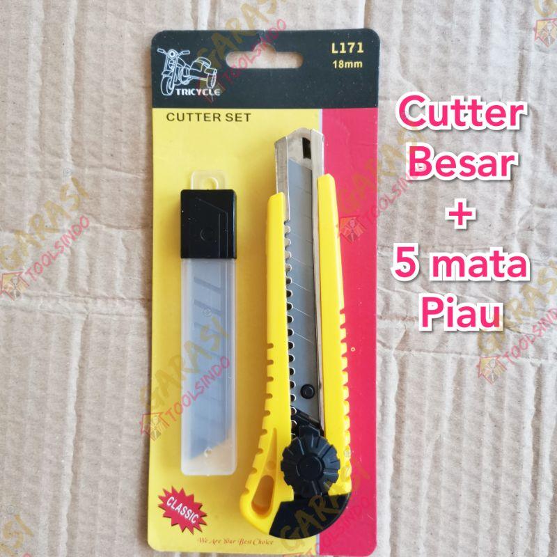 pisau cutter besar set plus 5 mata pisau cuter