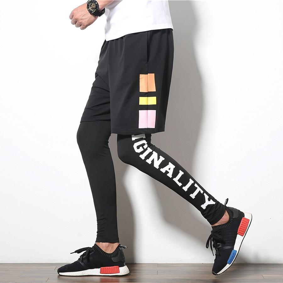 2pcs Set Celana Pendek Legging Panjang Pria Untuk Lari Olahraga Shopee Indonesia