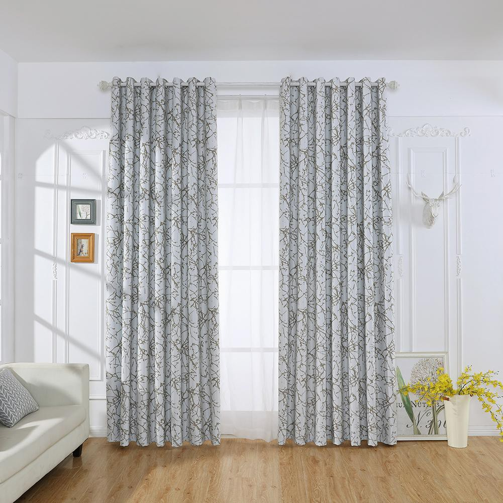 【Ready】Branch Printed Home Blackout Curtains Living Bedroom Windows Decor  Drapes Home Decor
