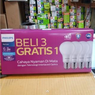 Philips PAKET Led Bulb 6Watt Putih Isi 4 Pcs