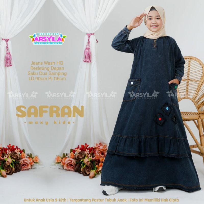 Safran Gamis Anak Hitam Dress Kids Jeans Levis Usia 9-12th Rempel Bawah by Arsyila