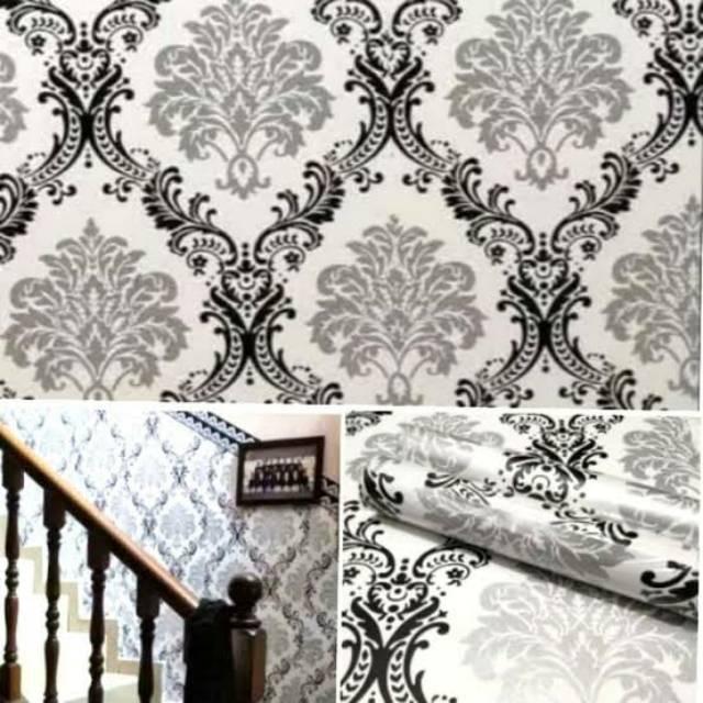 Wallpaper Dinding Murah Batik Silver Hitam Putih Bagus Elegan Shopee Indonesia