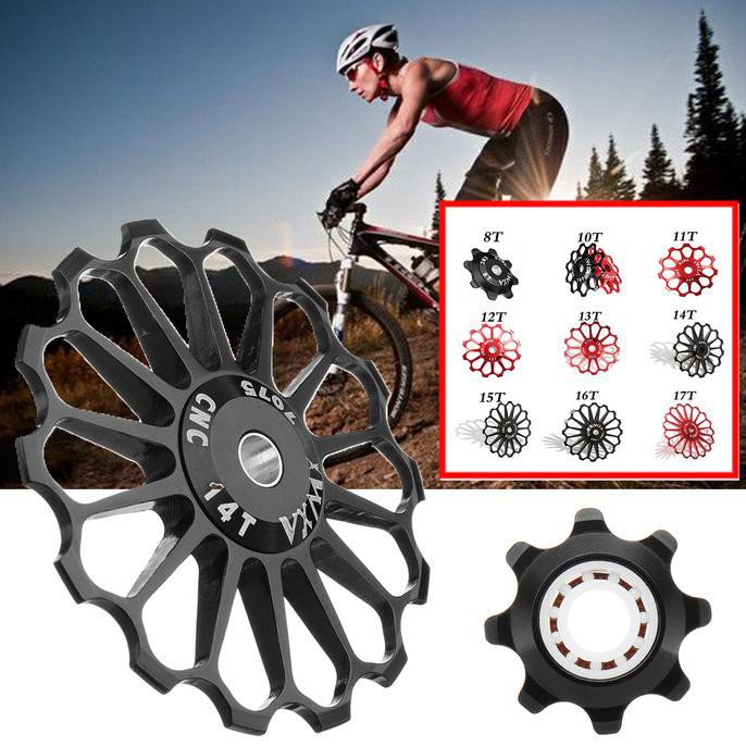(((Bisa Bayar Di Tempat))) 8-17T Aluminum Alloy Bicycle Derailleur Pulley Wheel Cycling Diskon Kode