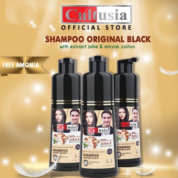 Cultusia Shampo Original Black dengan Ekstrak Jahe & Minyak Zaitun  160ml
