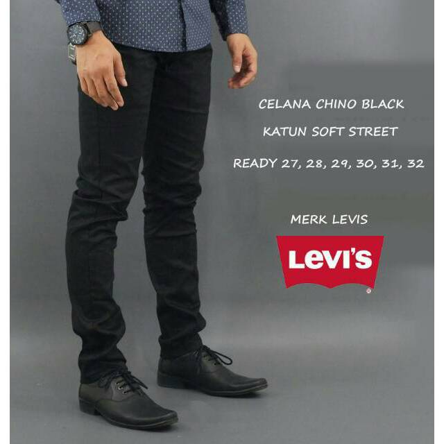 VM Celana Chino Stretch Slimfit Panjang Hitam - Long Pant Chino Black | Shopee Indonesia