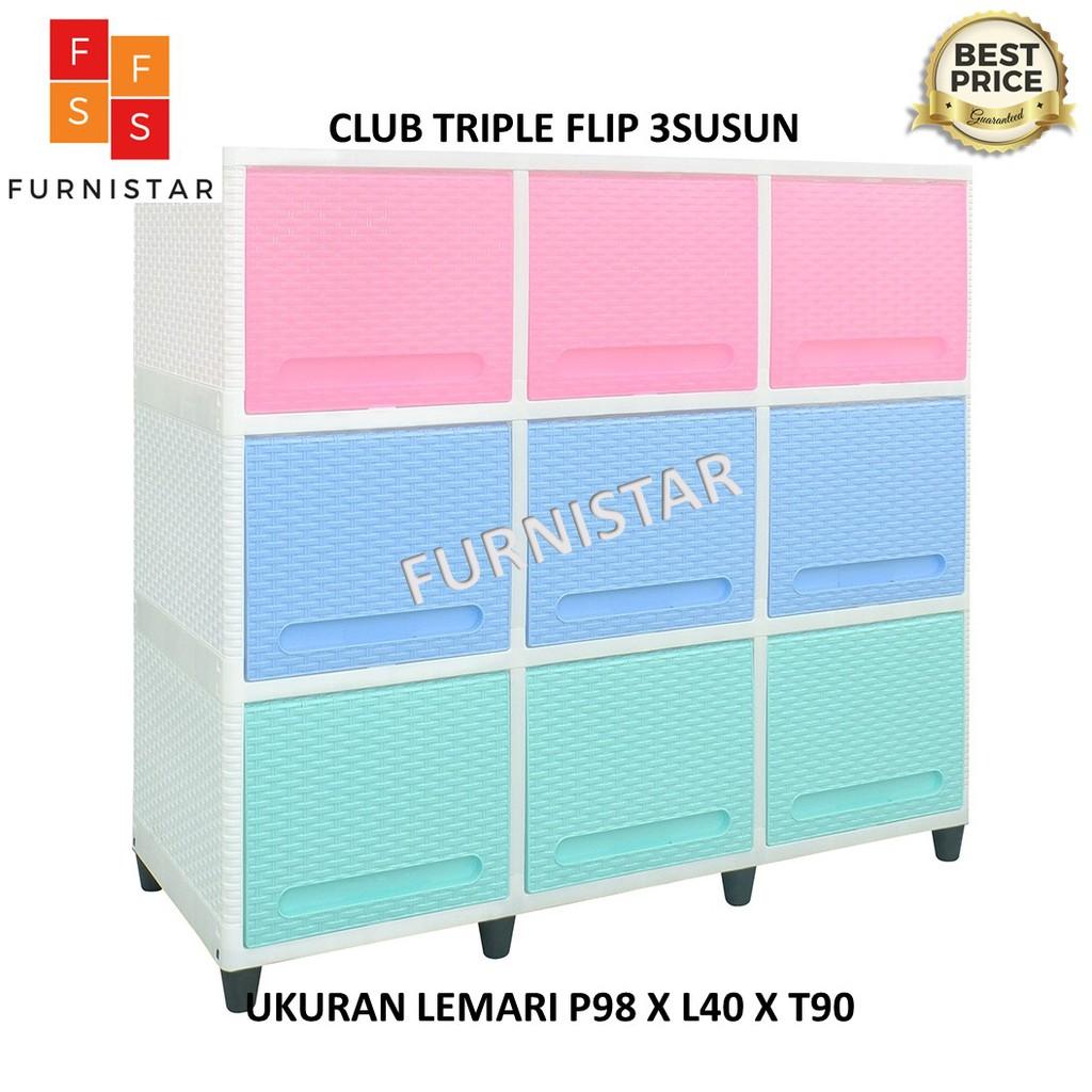 LEMARI PLASTIK CLUB TRIPLE FLIP 3SUSUN / BUFET TV RAK SERBAGUNA RAK MULTIFUNGSI SUSUN 3