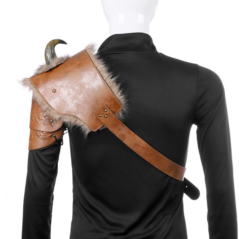 Left Shoulder and Right Shoulder G.Dori Men Shoulder Armor Costume Adjustable PU Armor with Horn Viking Pirate Gladiator Spartan Warrior Costume Brown