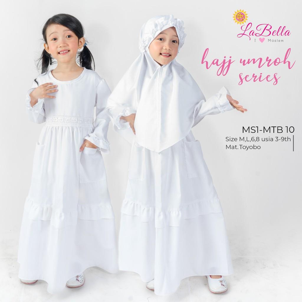 Gamis anak labella warna putih  baju muslim anak manasik haji usia 8-8tahun