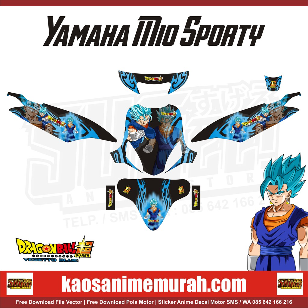 Sticker anime decal motor yamaha mio sporty vegetto dbs shopee indonesia