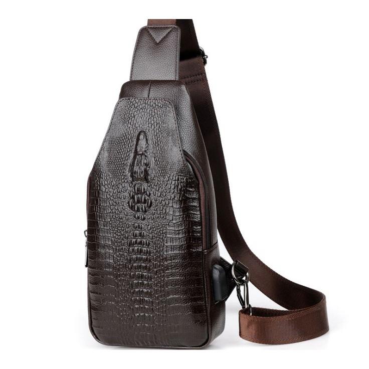 Tas Selempang Kulit Pria Sling Bag Import Motif Kulit Buaya 0668ec1204