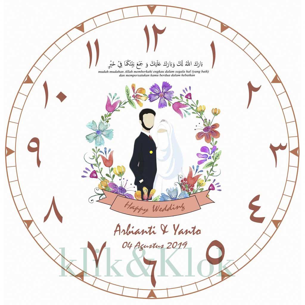 Jam Dinding Custom Kartun Hijab Cadar Wedding Souvenir Kado Ultah Vintage Shabbychic Rustic