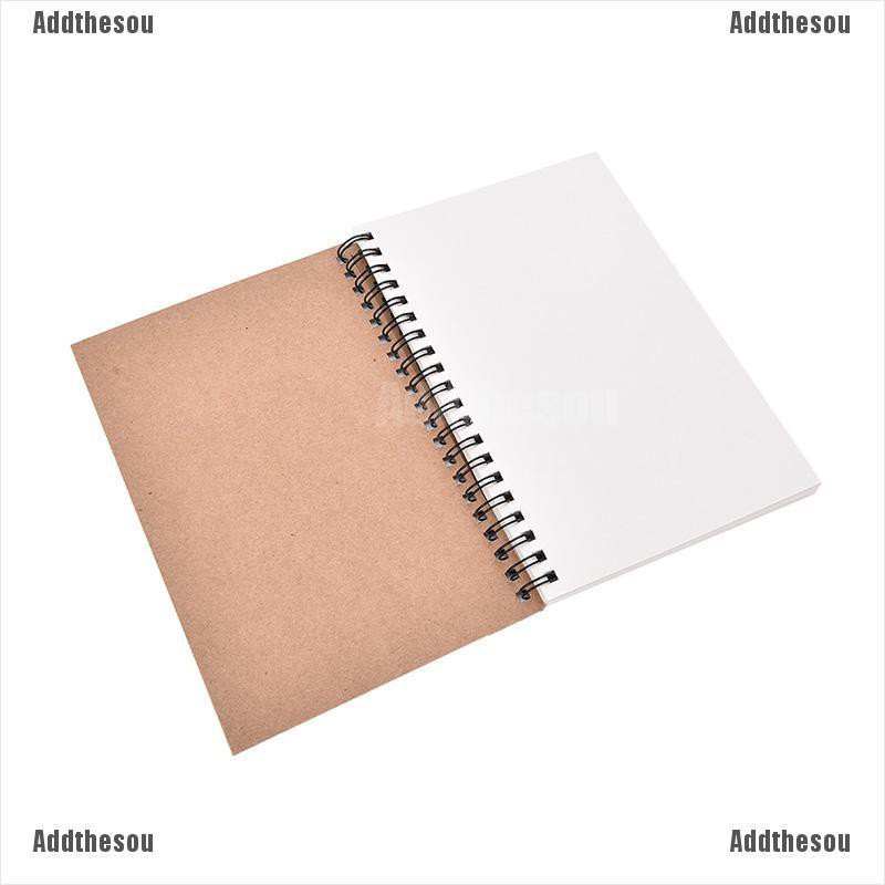 100 Sheets Spiral Bound Coil Sketch Book Blank Notebook Kraft Sketching Paper