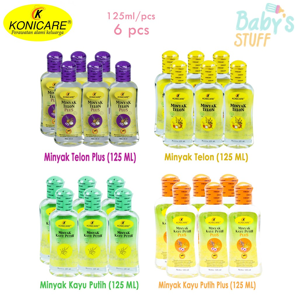 ( Isi 6 Pcs ) Konicare Minyak Telon / Telon Plus / Kayu Putih / Kayu Putih Plus 125 Ml | Shopee Indonesia