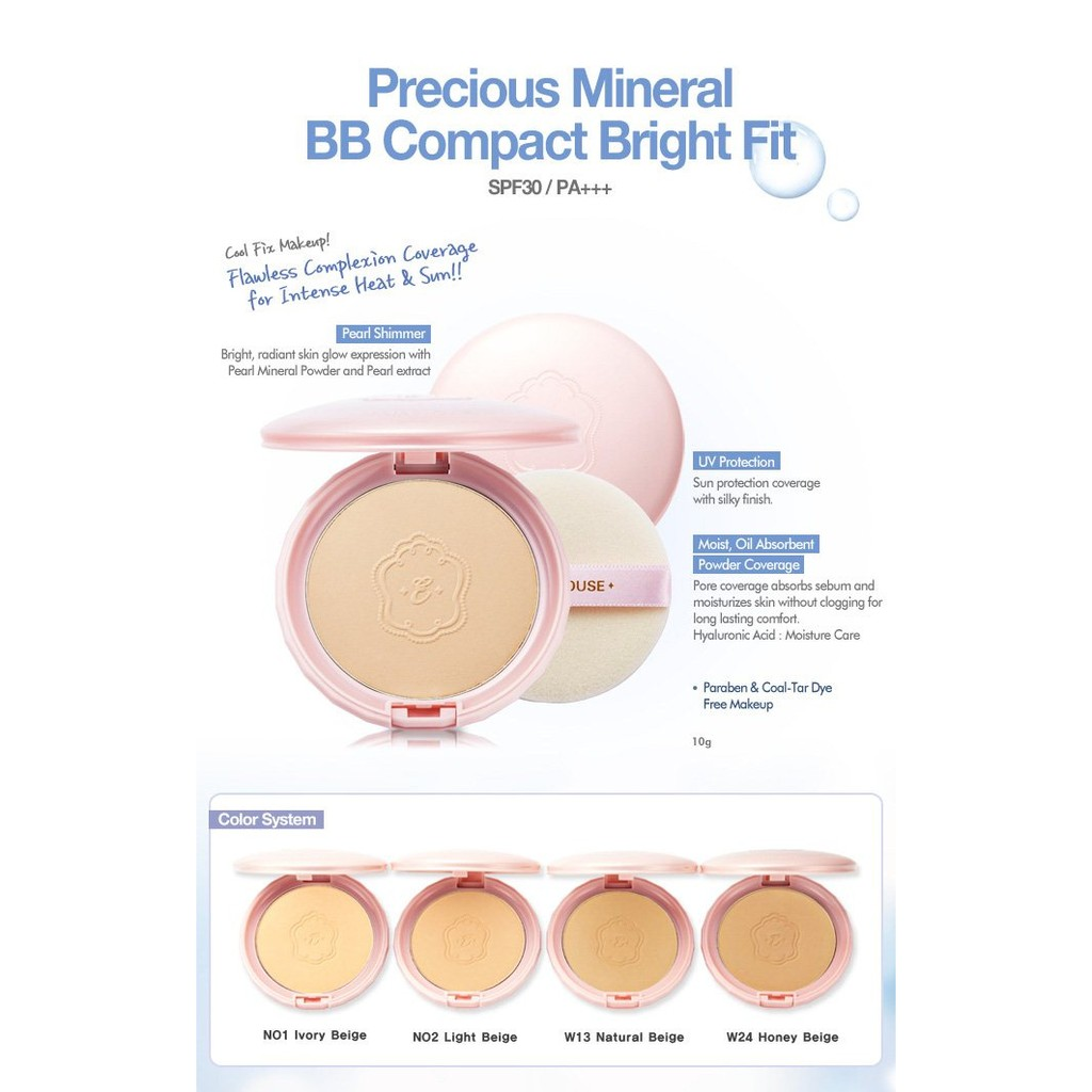 New Product Etude House Precious Mineral Bb Bright Fit Compact Powder Bedak Padat Free Ongkir |
