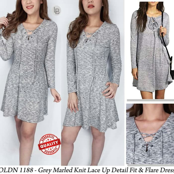 4fd42b70 Oldnavy grey marled knit lace up detail fit&flare dress | Shopee Indonesia