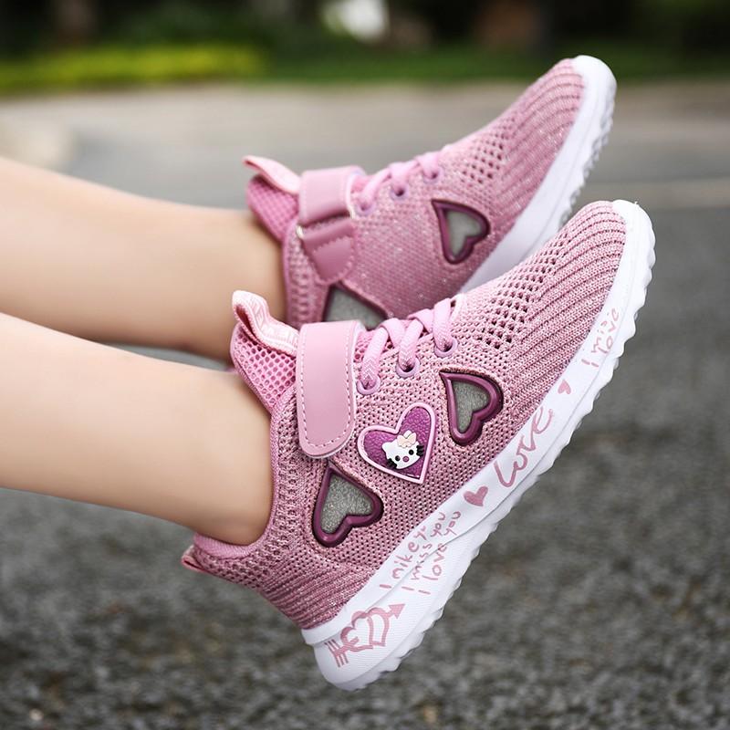 Hollow Heart Berbentuk Pink Mesh Sepatu Anak Anak Perempuan Sepatu