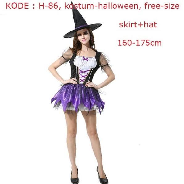 Gaun Wanita dengan Model Kostum Penyihir dan Warna Hitam Ungu untuk Cosplay / Halloween | Shopee Indonesia