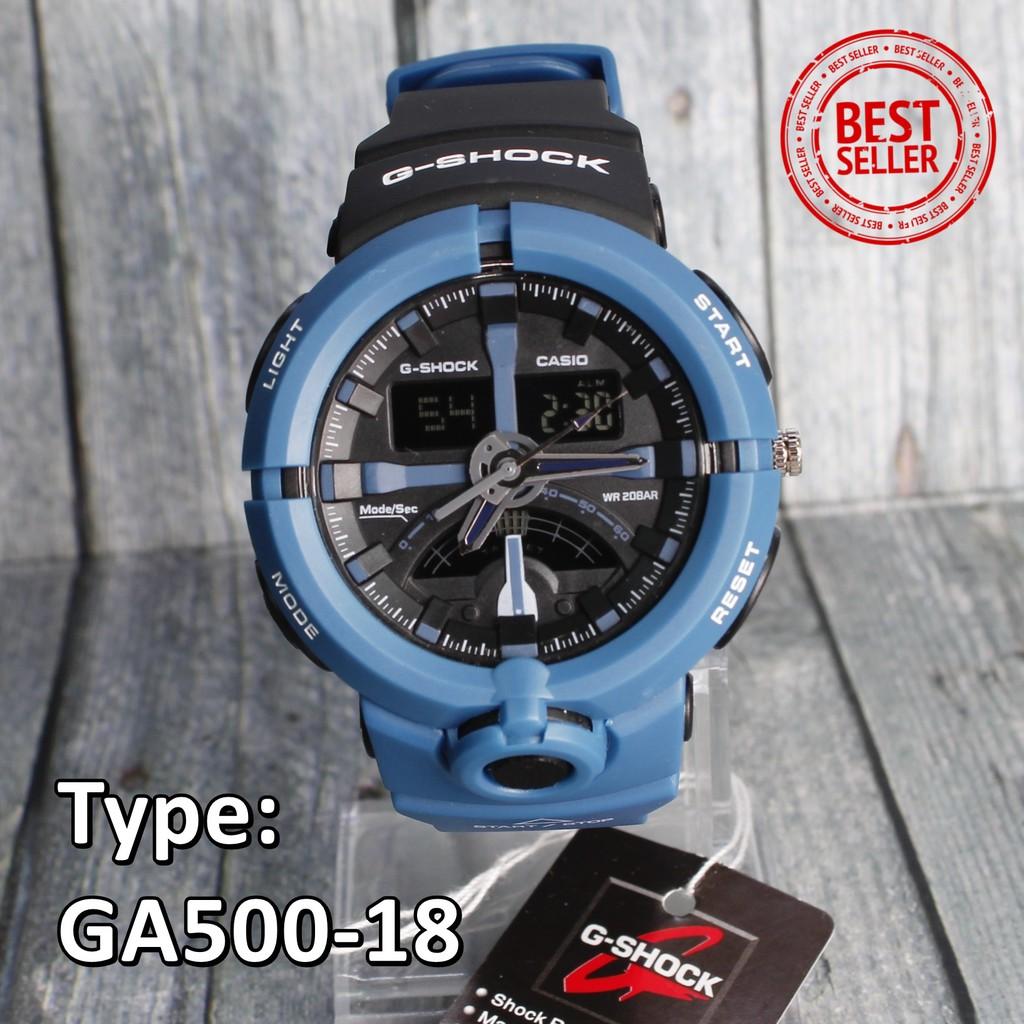 Model Baru Jam Tangan Pria Casio G Shock Ga500 Hitam Lis Biru Analog Digital Strap Karet Aeq 110bw 9a Shopee Indonesia
