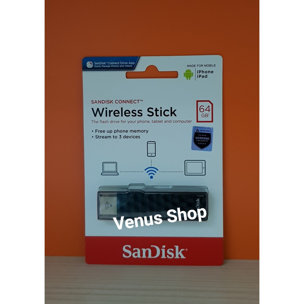 Sandisk Wireless Stick 64gb For Android Iphone Ios Mac Bergaransi Connect Flashdisk 32gb Garansi Resmi Shopee Indonesia