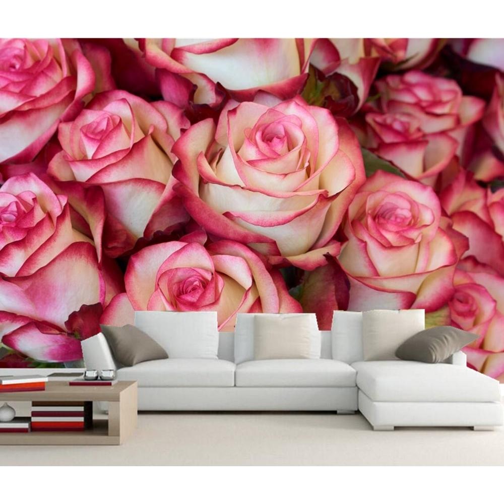 Wallpaper Desain Bunga Mawar 3D Untuk Ruang Tamu Kamar Tidur Restoran
