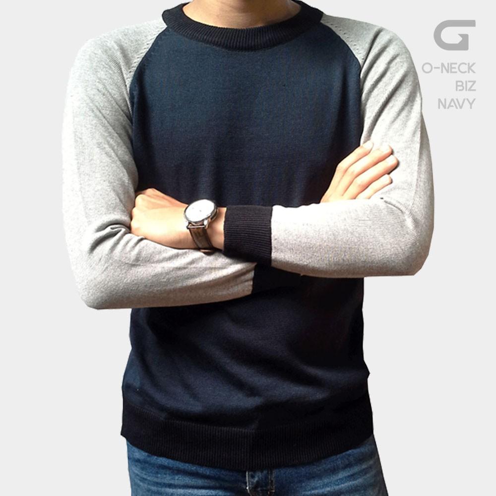 Gomuda Sweater Rajut Pria O Neck Biz Navy Shopee Indonesia Azuma