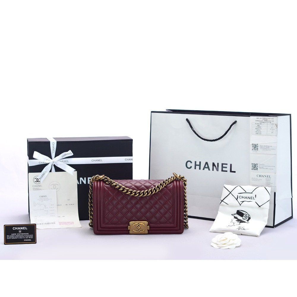 ea272dada84980 Tas Chanel Boy Small Caviar Quilted GHW Hitam Mirror 2018 | Shopee Indonesia