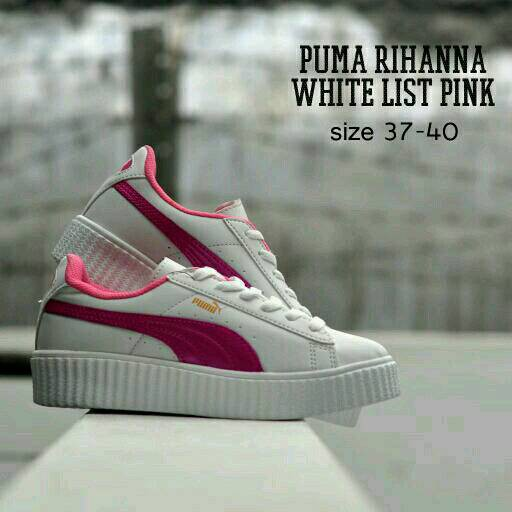 Sepatu Wanita Murah Kets Replika Puma Rihanna Putih Lis Pink ... 045bd73303