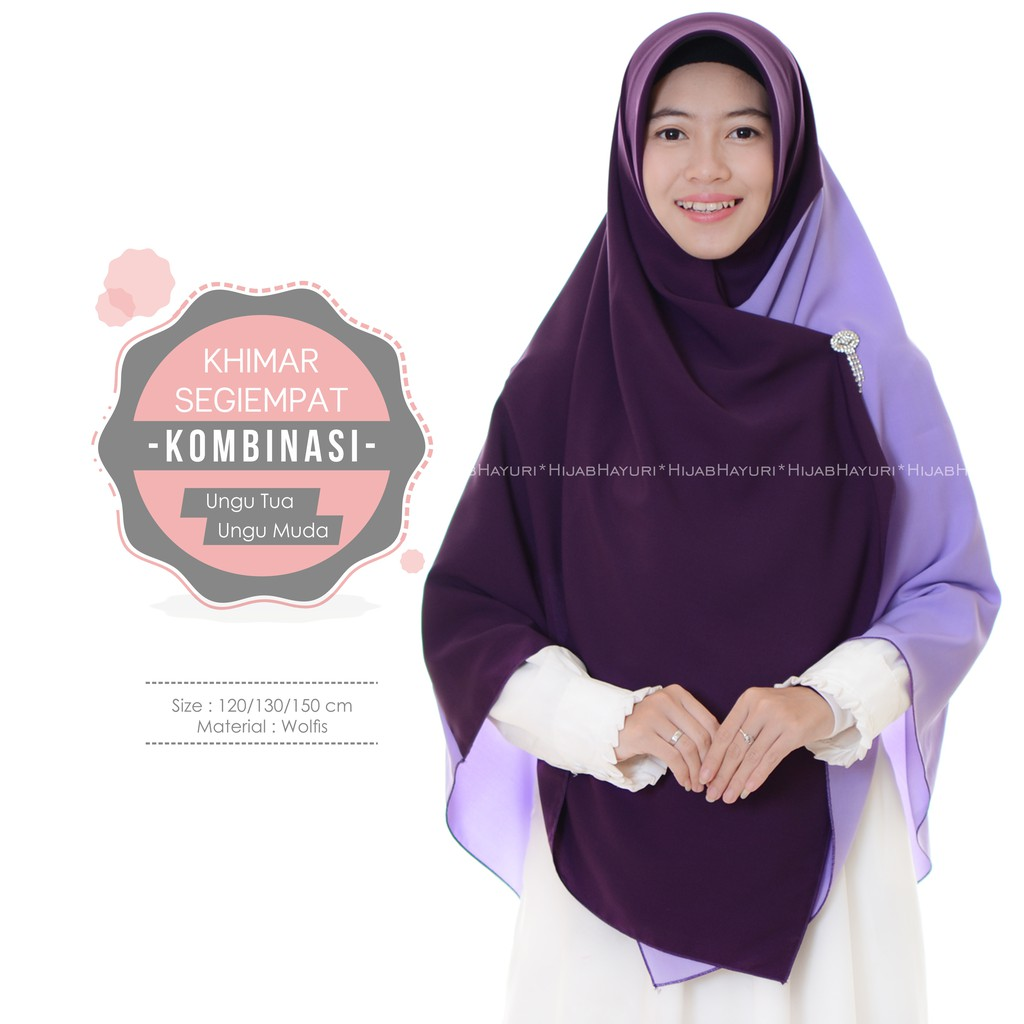 Hijab Hayuri Khimar Segiempat Kombinasi Ungu Tua Ungu Muda