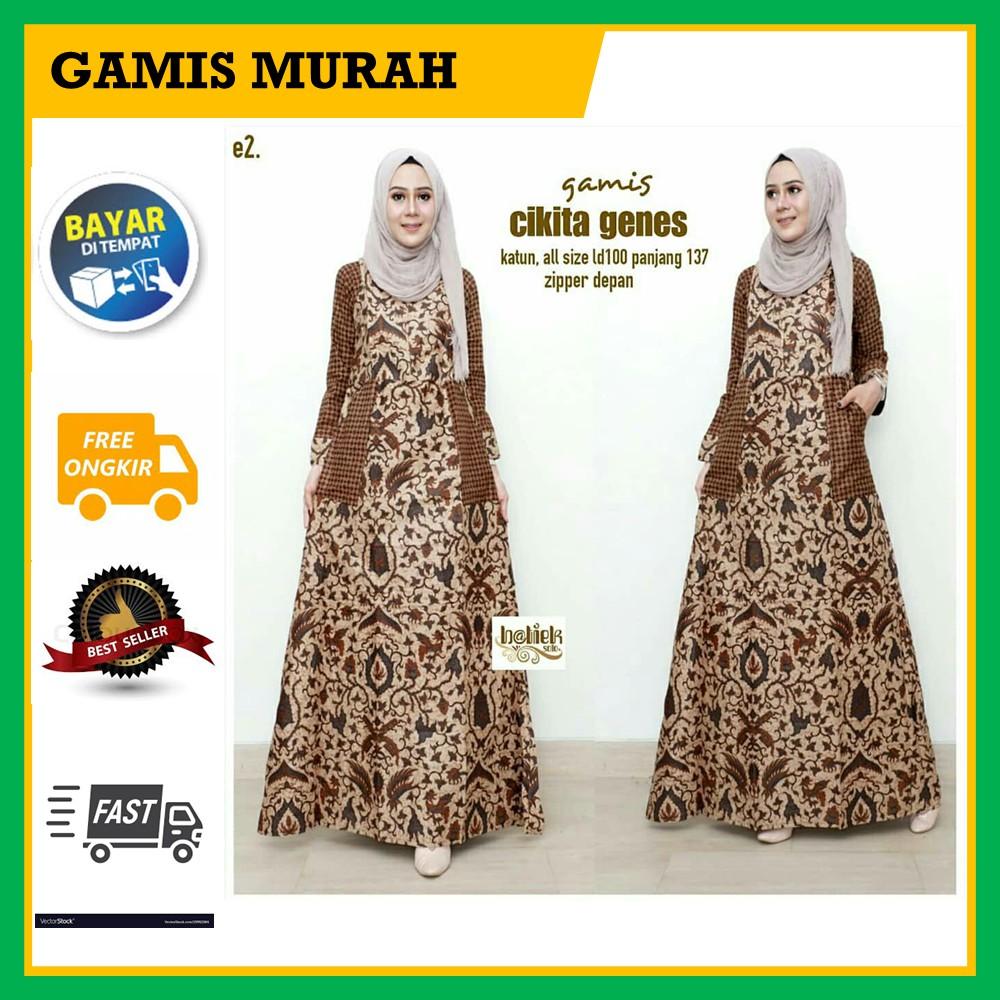 COD - Baju Gamis Batik Wanita Muslim Model Terbaru Zamzam Garansi Termurah  Di Shopee