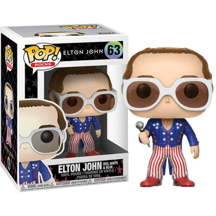 Pop Rocks Series 3 Elton John Red White Blue Vinyl Figure by Funko