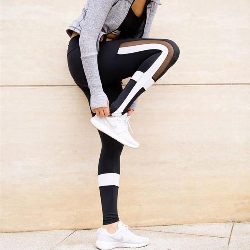Celana Legging Wanita Dengan Model Splicing Dan Motif Garis Garis Warna Putih Untuk Yoga Fitness Shopee Indonesia