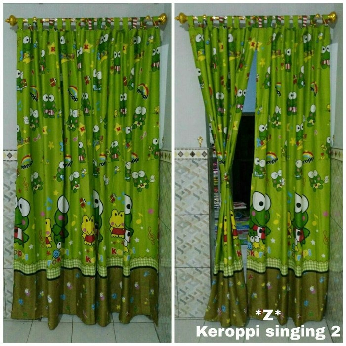 Gorden gordyn hordeng karakter keroppi terbaru tirai jendela pintu minimalis dekorasi kamar tidur | Shopee Indonesia