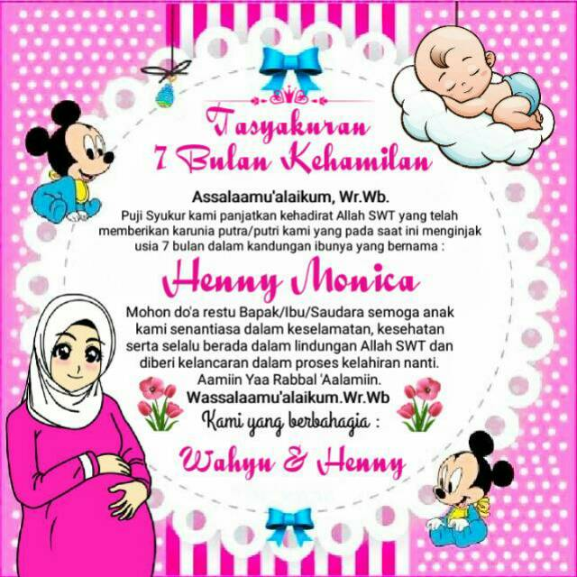 Stiker Tasyakuran 4 7 Bulan Kehamilan Free Request Nama Judul Acara Shopee Indonesia