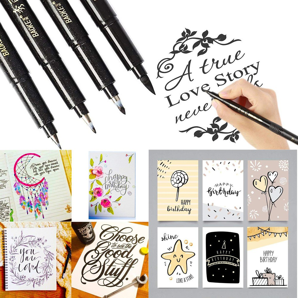 Refillable Calligraphy Pen Brush Lettering Pens for Beginners 4 Size Black Ink