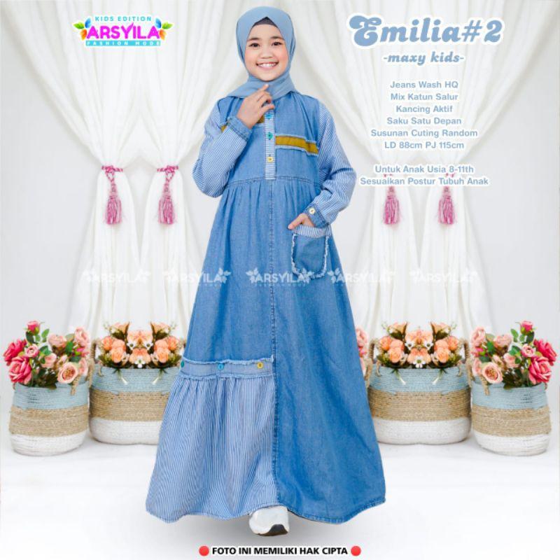 EMILIA Maxy Dress kids Gamis Anak Usia 8 9 10 11 Tahun Jeans Wash Halus By Arsyila