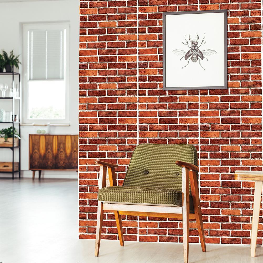 Stiker Dinding Dengan Bahan PVC Dan Gambar Batu Bata Warna Merah 3D
